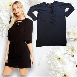 Medium Chaser Black Front Tie Tunic Dress